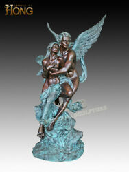 Art Deco Sculpture Angel Lovers Romantic Couple In Love Bronze Statue
