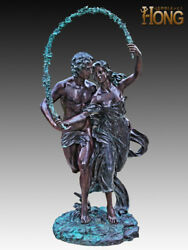 Art Deco Sculpture Man And Woman In Love Romantic Couple Bronze Statue