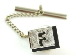 Letter F Initial Tie Tack Pin Personalized Jewelry Silver Tone Black