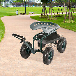 Planting Garden Cart Rolling Work Seat With Tool Tray Handle Outdoor Yard Green