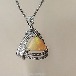 Stunning Genuine 4.90ct Solid Opal And Diamond Pendant 9ct Gold Valuation 6,970