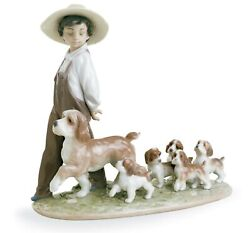 Lladro My Little Explorers Boy With Dogs Figurine 01006828