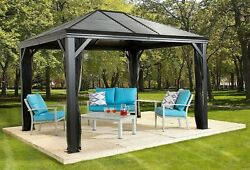 Sojaq 12and039 X12and039 Metal Sun Shelter Steel Roof Gazebo Shade Canopy With Netting