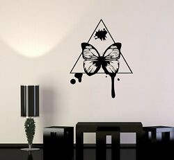 Wall Decal Butterfly In Triangle Decor Design Vinyl Sticker Ed1975