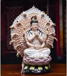 16and039and039 Dehua White Porcelain Colored Drawing Thousand-hand Guanyin Kwan-yin Statue