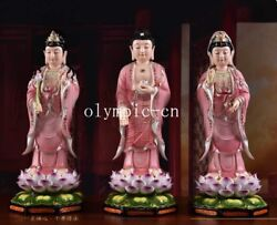 23and039and039 Colourful Ceramic Porcelain Set Of Three Saints Of The West Buddha Guanyin