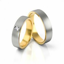 1 Pair Wedding Rings Gold 750 - Bicolour - Width 4,8mm - With Zirconia