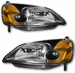 For Honda Civic 2001-2003 HeadLights Replacement Set Pair LH+RH Black Lens Color
