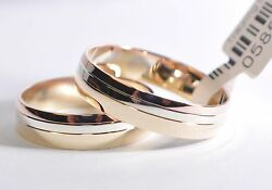 1 Pair Wedding Rings Bands Gold 750 - Tricolor - Width 50 Mm
