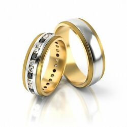 1 Pair Wedding Rings Gold 333 - Bicolour - Width 60mm - With Zirconia