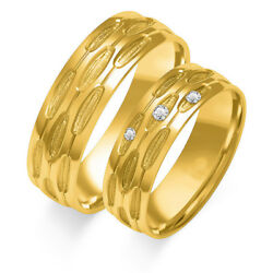 1 Pair Wedding Rings Gold 333 O.585 With Zirconia - Bicolour Or Single Color -