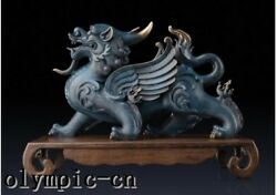 Pure Brass Hand Painting Carved Chinese Dragon Beast Kylin Statue
