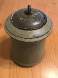 Antique Asian Pottery Jar W Lid Signed 9andrdquo Tall Sand Color Handcrafted