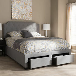 Aubrianne Modern Gray Button-tufted Fabric 2-drawer Storage Panel Bed Frame