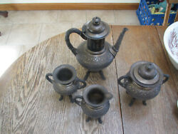 Antique 1877-1890and039s Meriden B Silver Plated Complete 5 Pc Footed Tea Set-exc