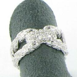 John Hardy Classic Chain Diamond Pave Ring 0.25cts Sterling Silver Sz 7 New 795