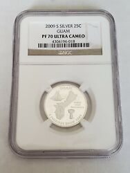 2009 S Silver Proof Guam - D.c. And Territories Quarter, Graded Pf 70 Uc By Ngc