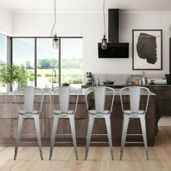 30and039and039 High Back Antique White Metal Bar Stool Kitchen Counter Height Stools