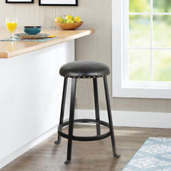 24'' Black Round Backless Metal Bar Stool Kitchen Stools Pack Of 2