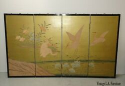 Vintage Japanese Four Panel Screen Gold Crane Wall Picture Oriental Asian