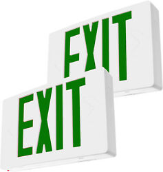 2-pack Green Ul Listed Emergency Led Exit Sign Battery Backup