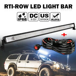 52inch 3000w Led Light Bar Flood Spot Offroad Driving Lamp + Wiring Harness