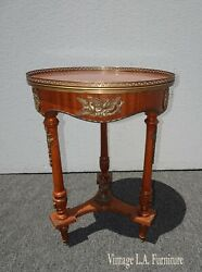 Vintage French Louis Xvi Side Table W Brass Ormolu Marquetry Inlay Brass Fencing