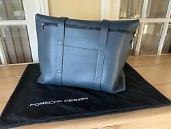 Porsche Design Cobalt Blue Large Luxury Designer Briefcase Tote Bag $1,105.00
