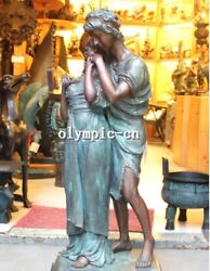 38 Inch Bronze Art Sculpture A Men And Girl Lovers Statue Marble Base