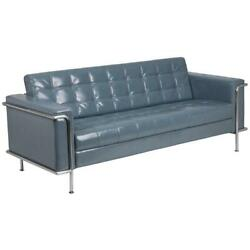 Contemporary Gray LeatherSoft Double Stitch Detail Sofa with Encasing Frame