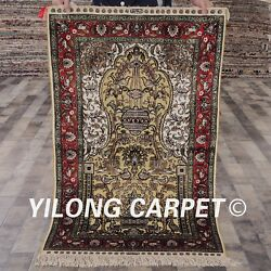 Yilong 2.5'x4' Handknotted Golden Silk Area Rug Antique Family Room Carpet L137a