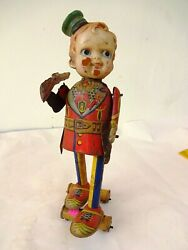 Vintage Tin Litho Toy Fukuda Japan Boy With Gun Wind Up Celluloid Head Collecti
