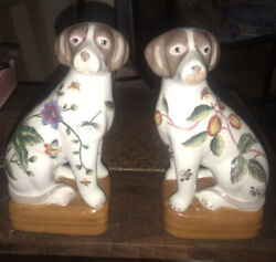 """Pair (2) Matching Staffordshire style Dog Terrier Hound Asian Bookends Signed 8"""""""