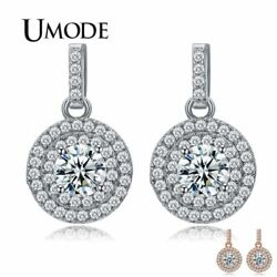 UMODE Latest Halo 5mm 0.5ct CZ White  Rose Gold Color Drop Earrings Jewelry