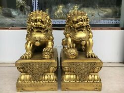 Pair 22and039and039brass Home Fengshui Door Guard Exorcise Evil Spirits Beast Foo Dog Lion
