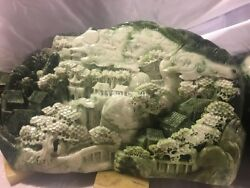 Chinese Dushan Jade Carved Hone Decor Hill Tree River Birdge House Old Man