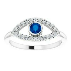 14kt White Gold Evil Eye Pave Sapphire Ring Ward Off Evil Protect New