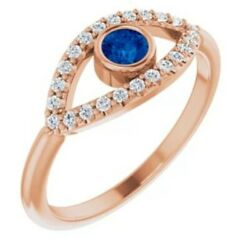 14kt Rose Gold Evil Eye Pave Sapphire Ring Ward Off Evil Protect New