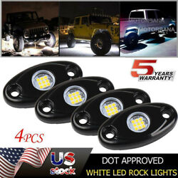 4pcs Underbody Rock Led Lights White For Chevy Silverado 1500 2500 3500 Offroad