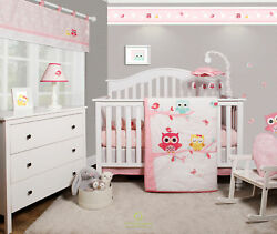 6 Piece Enchanted Owls Family Baby Girl Nursery Crib Bedding Sets By OptimaBaby