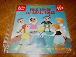 4 Disney 45 Rpm Vintage Records Lot New-folk Songs For Small Folks And 3 Used