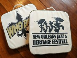 Rare New Orleans Jazz Fest And Saints Who Dat Stadium Seat Cushion W/handle
