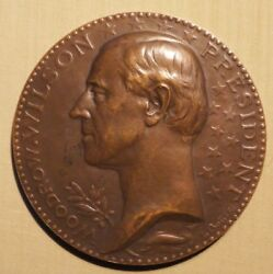 Rare Wwi President Woodrow Wilson Speech To French In 1919 Paris Bronze Medal.