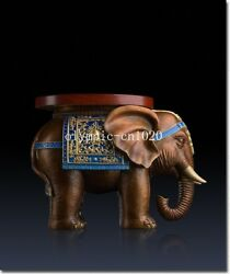 15'' Superfine Brass Colored Drawing Carvings Elephant Footstool Shoes Stool