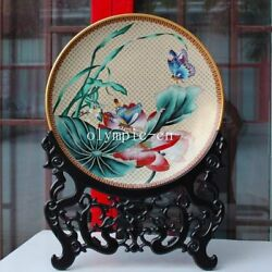 20''pure Copper Gold Cloisonne Enamel Handcraft Painting Lotus Butterfly Plate