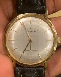 Extremely Rare Vintage Zenith Manual Menand039s Watch 18 J 2511 Calibre Gold Plated