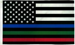 USA Thin Red Blue amp; Green Line 3x5ft Flag Grommets Police Fire Military