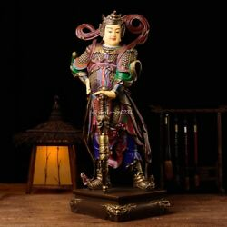 24'' Pure Bronze Mineral Pigment Home Fengshui Guard Safety Wei Tuo Bodhisattva