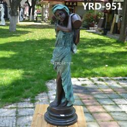 35'' Bronze Sculpture Home Decorate A Women Girl Lady Hold Vase Statue