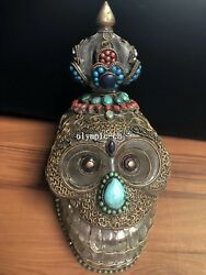 8and039and039 Tibet Crystal Inlcy Silver Gold Filigree Gem Buddhistrs Skulls Head Statue